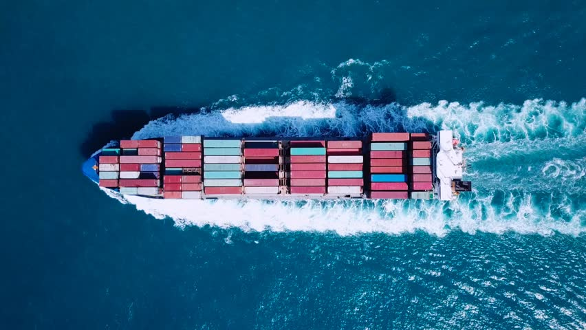 Large container ship at sea - Top down Aerial footage