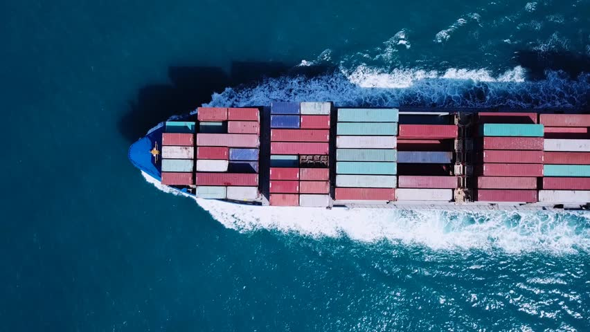 Large container ship at sea - Top down Aerial footage #31963591