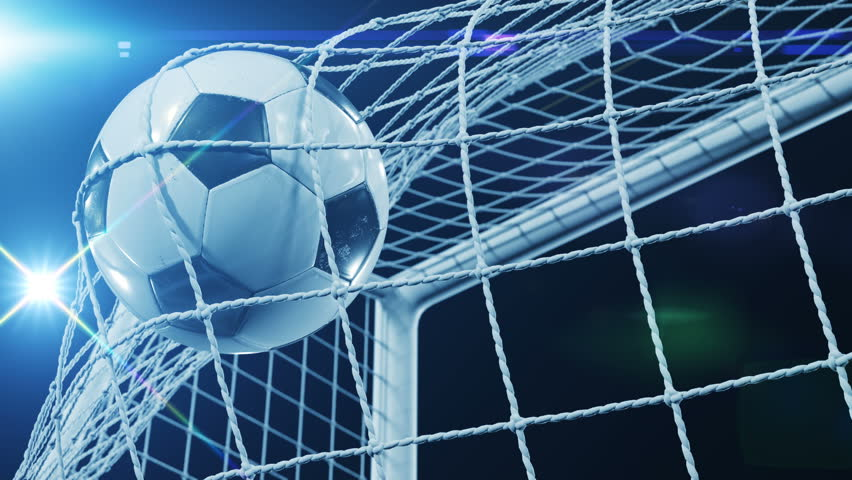 Beautiful Soccer Slow Motion Concept of the Ball flying into Goal Net. Fans taking pictures with flashes. 3d animation Close up of the Goal Moment. 4k UHD 3840x2160. #31968187