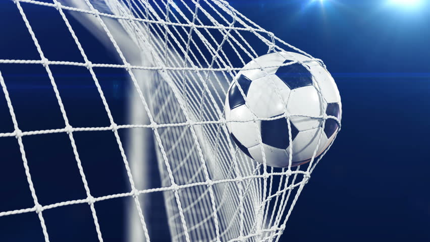 Soccer Ball flying in Goal Net in Slow Motion. Black Background and Flares. Sport Concept. Beautiful Football 3d animation of the Goal Moment. 4k Ultra HD 3840x2160. | Shutterstock HD Video #31968211