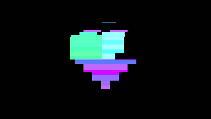 A digital heart made of pixels, beating, with noise and glitches.