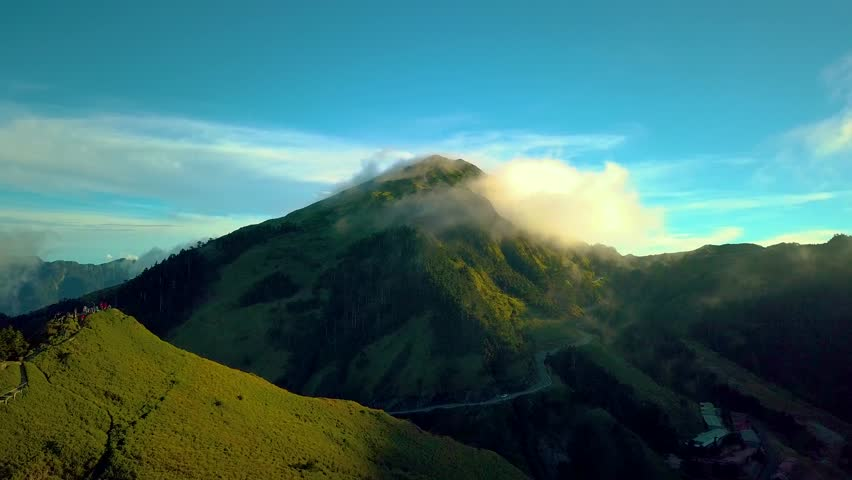 4K Aerial view Hehuan Mountain, Beautiful clouds in the mountains at altitude of 3,700 meters in Taiwan.