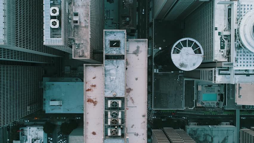 Top View and in between buildings in Atlanta, Georgia in 4k via Drone