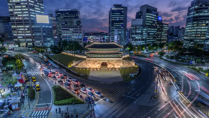 Time lapse zoom in of Traffic at Namdaemun gate and Seoul City,South Korea.