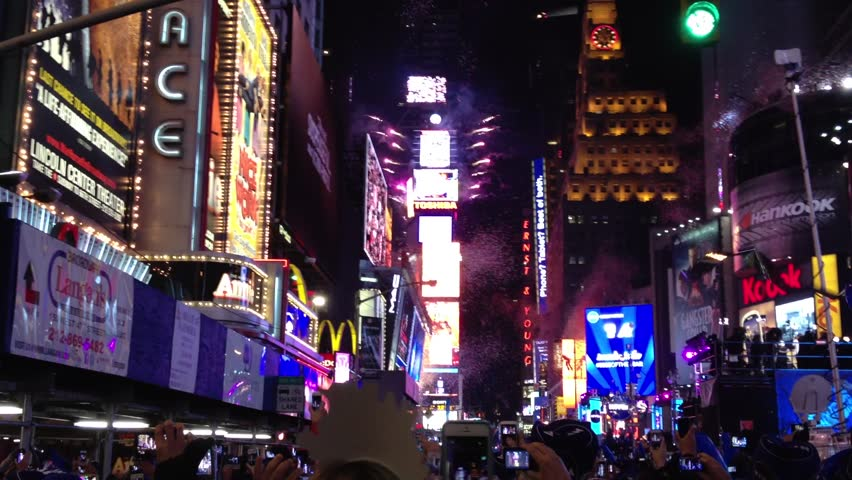 NEW YORK - December 31, 2012: New Year's countdown in Times Square and ball drop December 31, 2012.  | Shutterstock HD Video #3198355