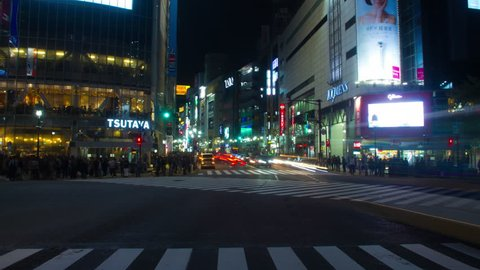 Night hyper lapse 4K including 109 bldg. at Shibuya crossing wide shot 2017.10.18 in Tokyo  camera : Canon EOS 7D 4K settled color correction