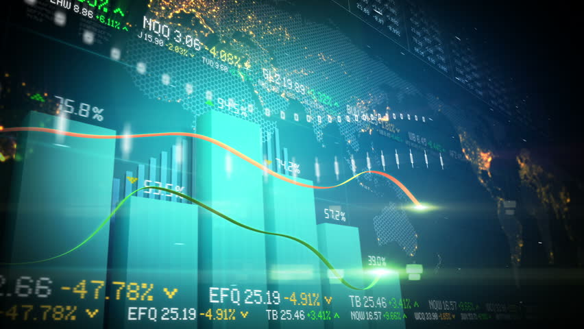 Seamlessly looping abstract animation of bar charts and global map in the background | Shutterstock HD Video #3199588