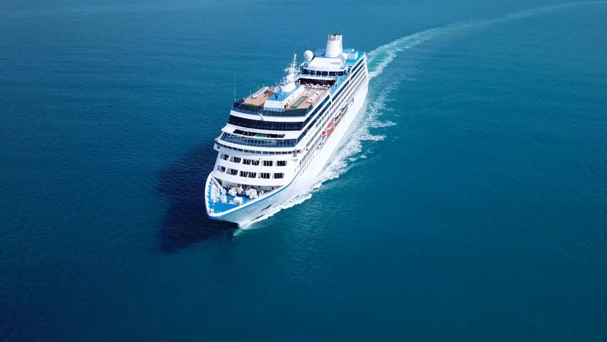 Cruise ship sailing across The Mediterranean sea - Aerial footage | Shutterstock HD Video #32033326