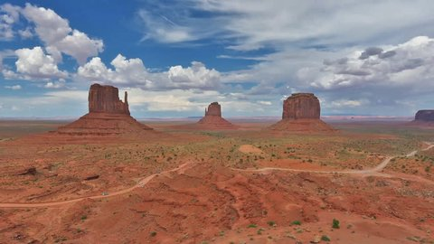 Classic view to Monument Valley, Arizona. Time Lapse.