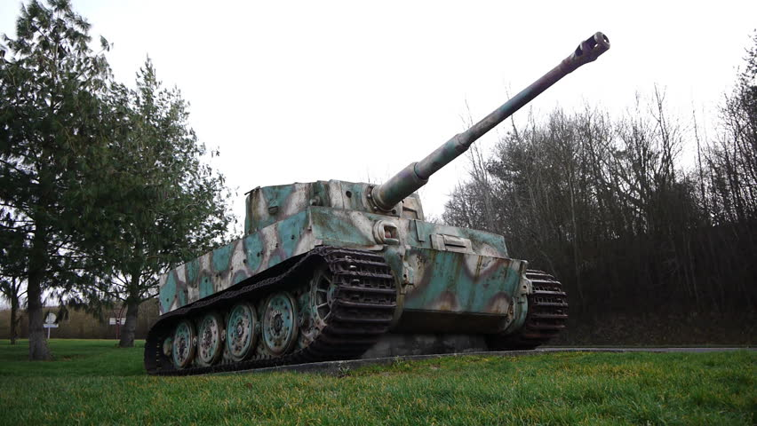 Old German tank from World War 2 located in Vimoutiers France. The tank is a left-over at the moment the Germans retreated.