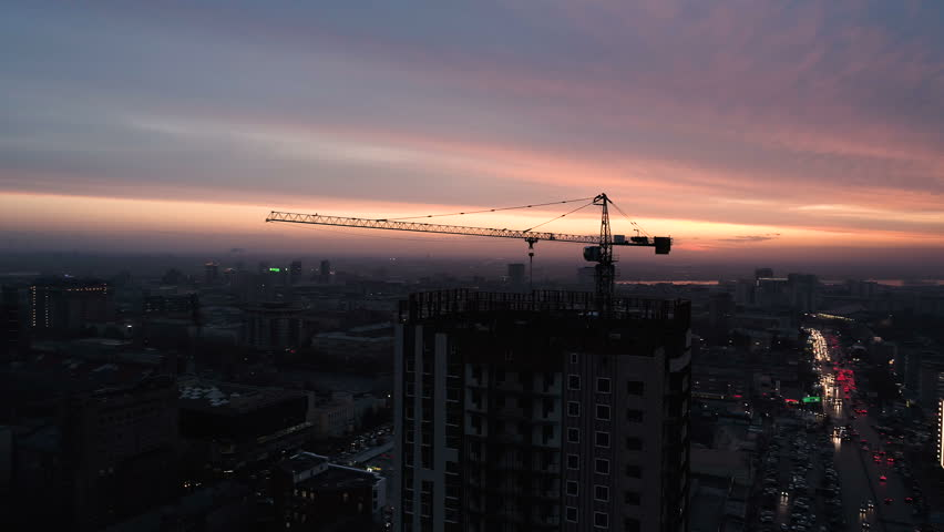 Aerial Drone Shot of Construction Site of Modern Glass Office Building in City. | Shutterstock HD Video #32050648