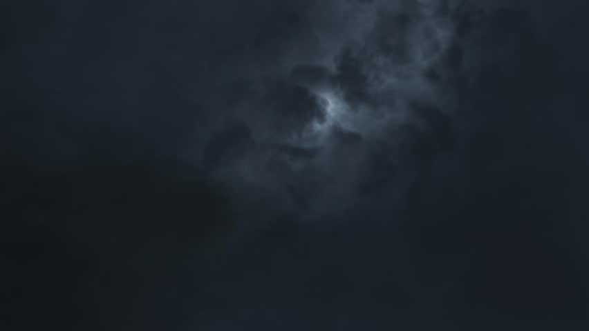 Thunderstorm sky clouds at night with lightning realistic animation Timelapse - new quality unique nature view video footage