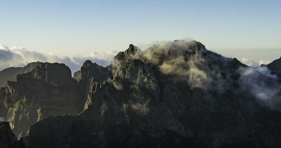 Floating clouds over the Madeira mountains (time lapse)   Shutterstock HD Video #32057560