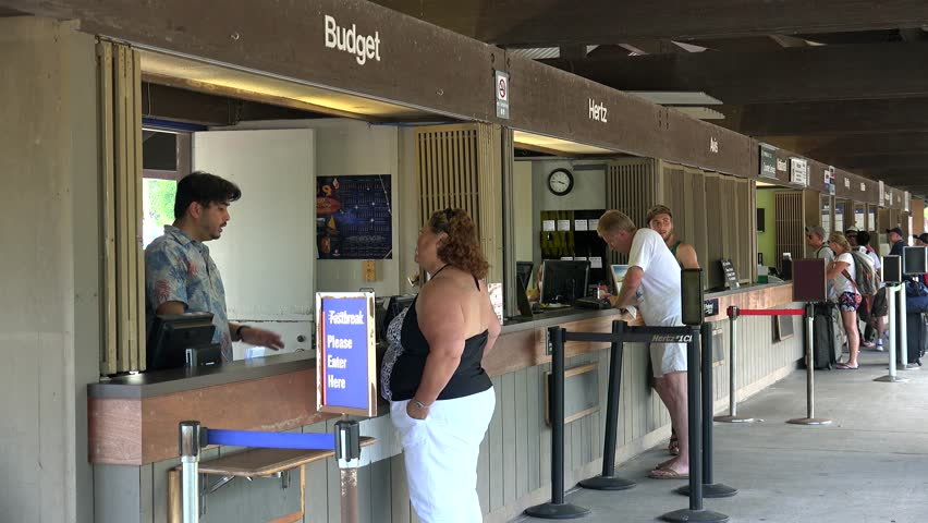 HILO - MAY 06 Customers at Rental Car Desks in Hilo International Airport.  May 06, 2017 in Hilo, Big Island, Hawaii, USA