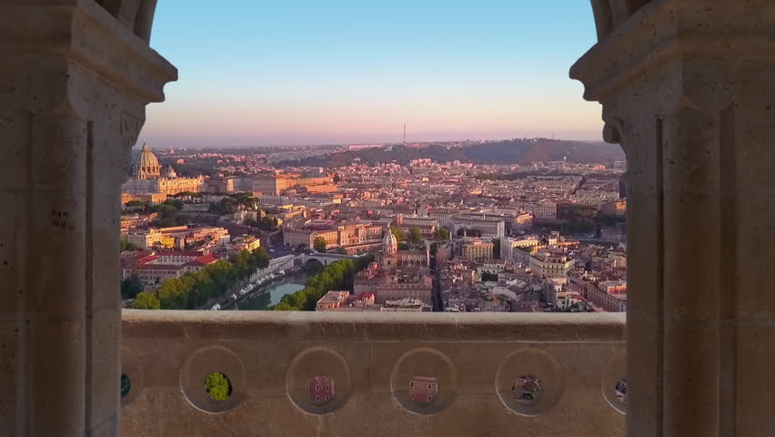 Rome city aerial view at sunrise flying to vatican city | Shutterstock HD Video #32069137