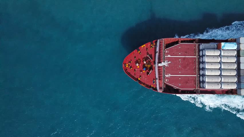 Large container ship at sea - Top down Aerial  #32074801