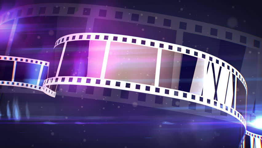An amazing 3d rendering of a violet and white cinematographic film tape. The film tape spins on a reel fast with the bright blue beams in the background. It looks like a film projecter work. #32077204