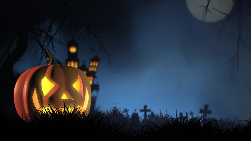 Halloween video background with pumpkin head smiling at the camera while glowing. Horrific atmosphere.  | Shutterstock HD Video #32077816