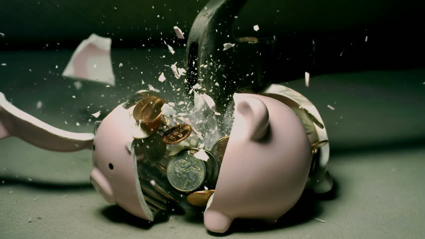 Piggy Bank Hit With Hammer Super Slow Motion 2000fps | Shutterstock HD Video #32079937