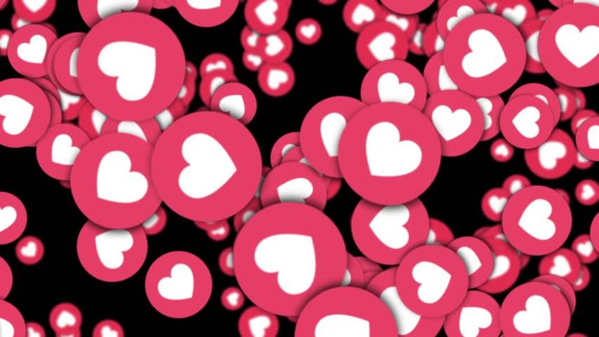 ROME, ITALY - October 17, 2017: Facebook Hearts Emoji Falling Animation. Rendering, Background, 4k  | Shutterstock HD Video #32080432