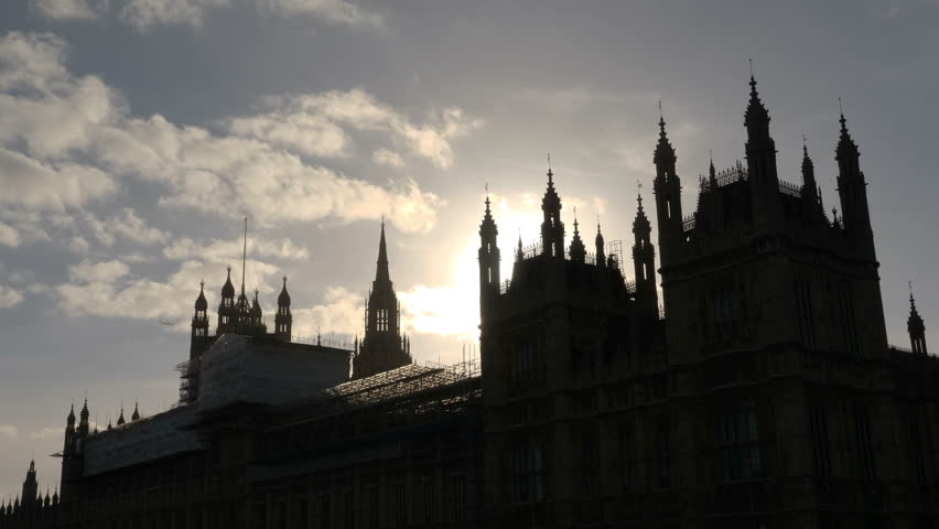 Beautiful Sun Glare behind Westminster palace in London, England. Smooth slider movement, 4k   Shutterstock HD Video #32096353