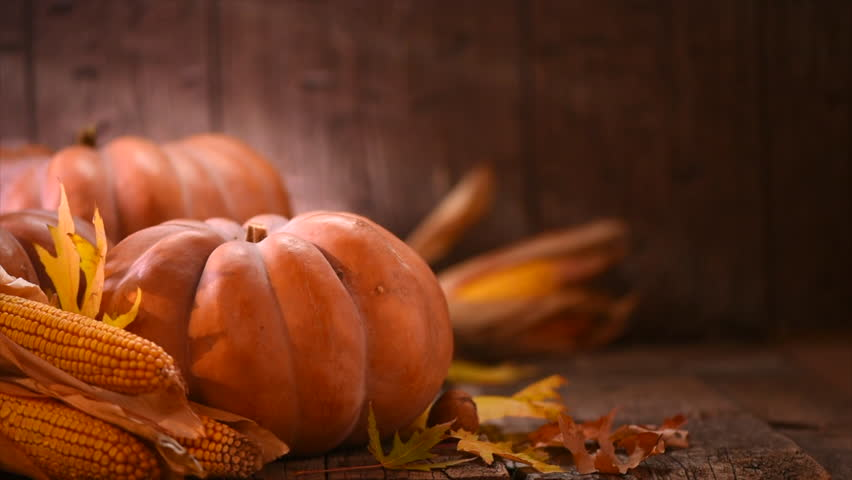 Thanksgiving Day. Pumpkin, Squash. Happy Thanksgiving Day wooden Table Background decorated with pumpkins, corn comb, candles and autumn leaves garland. Holiday Autumn festival scene, Fall, Harvest 4K | Shutterstock HD Video #32111971