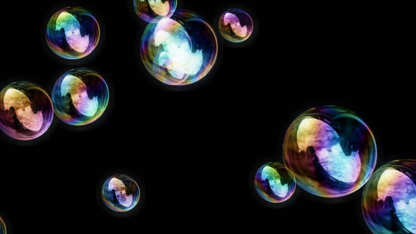 Soap Bubbles / Black Background - Calm Video Background Loop /// Soap Bubbles. Lots of them. Rendered in front of a black background, so this video loop can be used in conjunction with a projector.