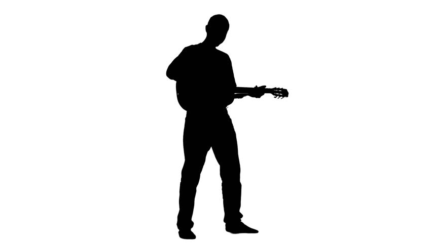 Musician plays the lyric song on the guitar and sings. Silhouette. White background