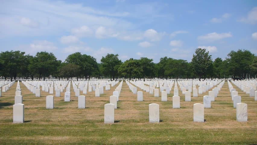Cemetery location, Fort Snelling Minnesota, war veteran memorial gravestones.