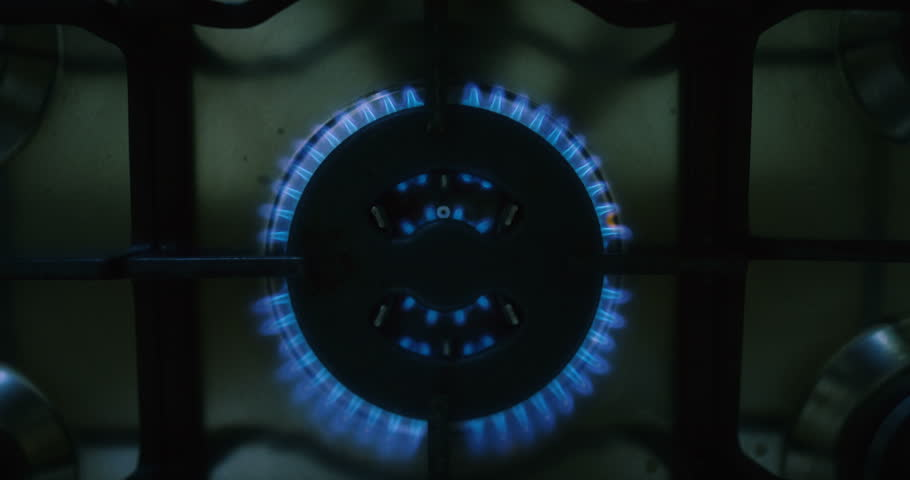 Top Down Shot of a Gas Stove Being Turned On. Shot on RED Epic 4K UHD Camera.