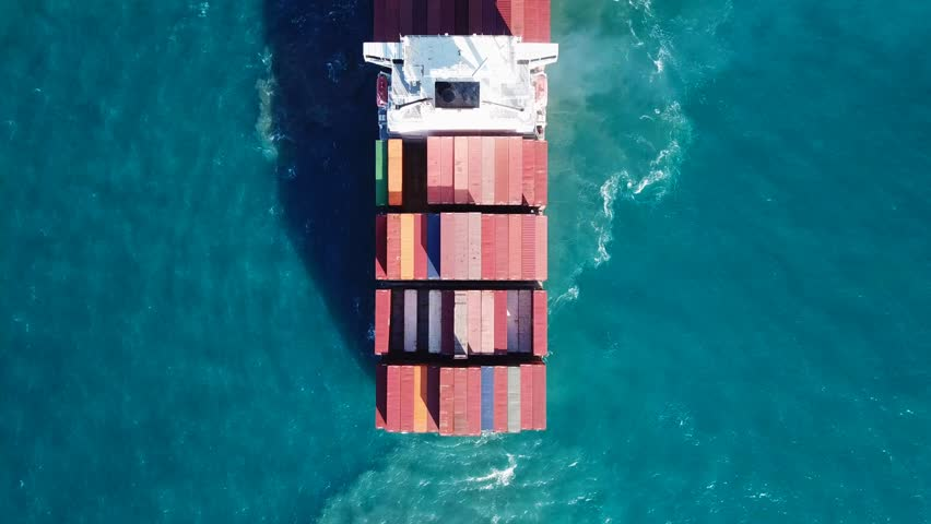 Large container ship at sea - Top down Aerial footage | Shutterstock HD Video #32206006