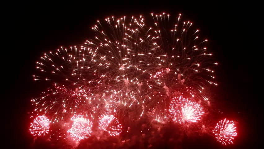 Firework display at night on black background. Bright red green yellow explosions. Amazingly beautiful. Salute for new year Christmas and other holidays. Macro video closeup footage 4k. | Shutterstock HD Video #32228917