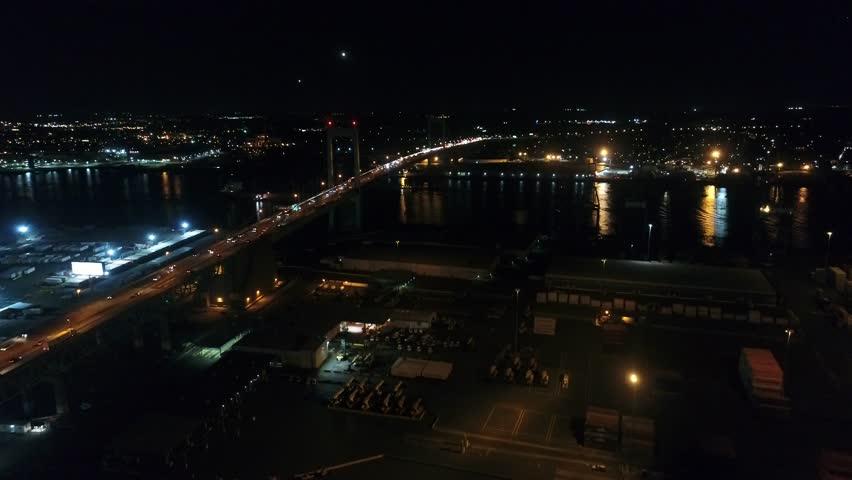 Night Aerial Flight Near Walt Whitman Bridge Philadelphia   Shutterstock HD Video #32239828