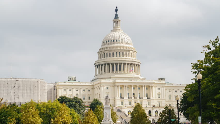 The Capitol in Washington, DC. One of the most beautiful and recognizable buildings of the city. Hyperlapse video