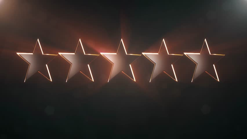 5 black stars rotating animation 3d background seamless loop - New quality vintage universal motion dynamic animated colorful joyful holiday music video footage