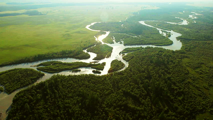 Aerial View. Flying over the beautiful mountain River. Aerial camera shot. Landscape panorama. Altai, Siberia. #3226003