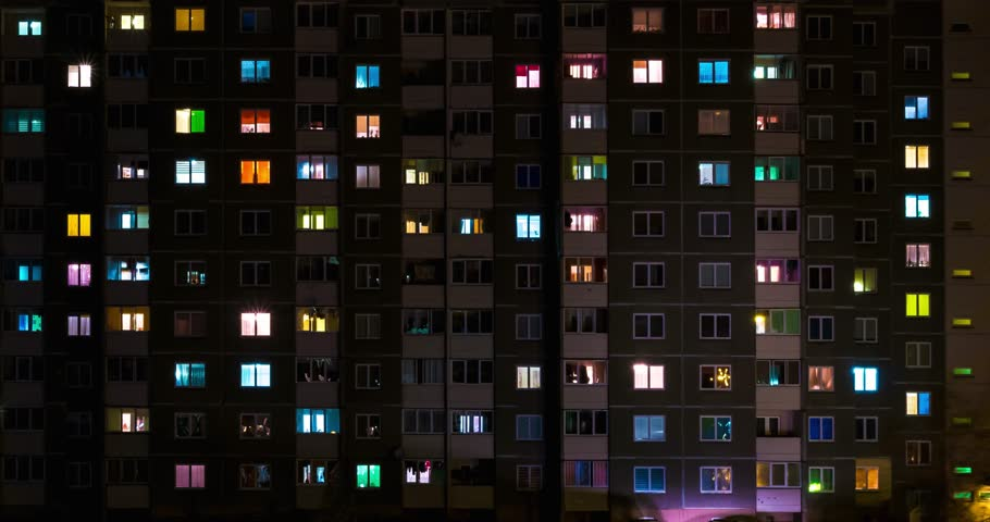 Light in the windows of a multistory building. Night time lapse. Serenade of light #32280580