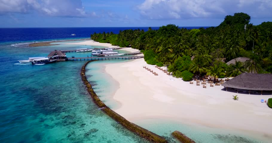 maldives white sand beach tropical islands with drone aerial flying birds eye view with aqua blue sea water and sunny sky | Shutterstock HD Video #32284003