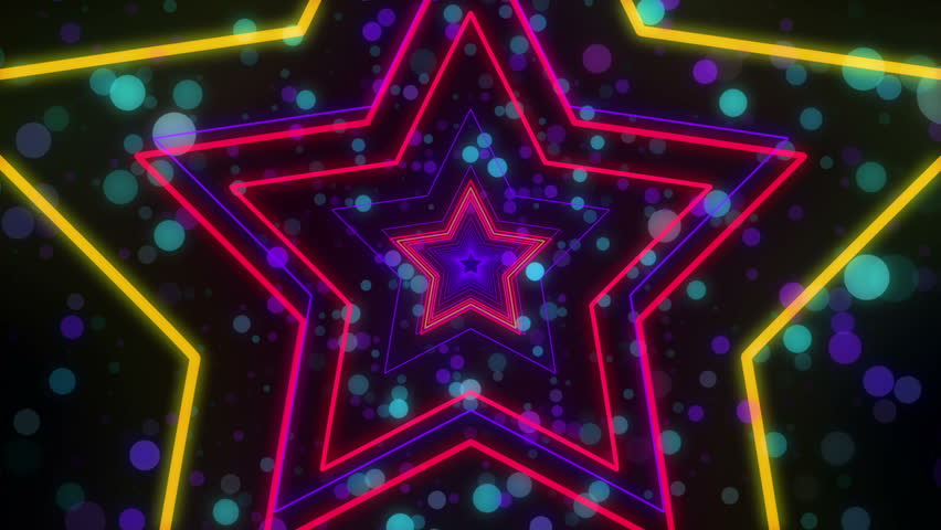 Disco star neon lights looped animation for music videos, night clubs, LED screens, fashion show, christmas and new year events | Shutterstock HD Video #32286175