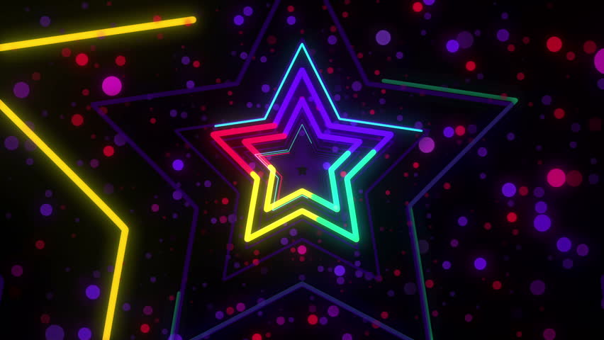Disco star neon lights looped animation for music videos, night clubs, LED screens, fashion show, christmas and new year events | Shutterstock HD Video #32286193