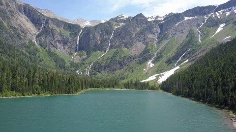 Aerial shot of Glacier Lake at Glaciers National Park, Montana USA.