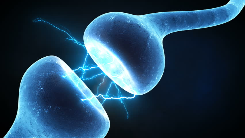 Neuron synapse zoom in Neurons in action. electrical impulses between neuronal connections.