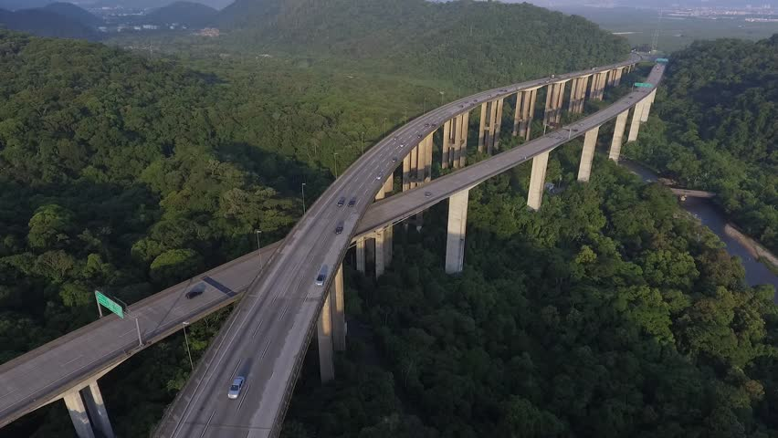 Imigrantes Road, that connects Sao Paulo and Santos cities, crossing Serra do Mar State Park, a conservation natural area