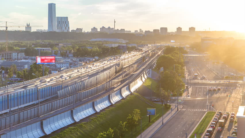 The Third Ring Road at sunset timelapse aerial view from rooftop. The Third Ring is Moscow's newest beltway, located between the Garden Ring in the city centre and Moscow Ring Road. Moscow, Russia | Shutterstock HD Video #32334814