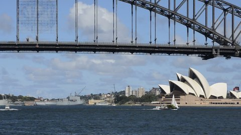 SYDNEY, AUSTRALIA - CIRCA Feb 2012: Sydney Australia close up of famous Harbour Bridge and Sydney Opera House with boat in New South Wales