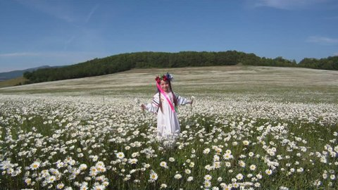 Ukrainian girl in a traditional dress against a rural scenery.