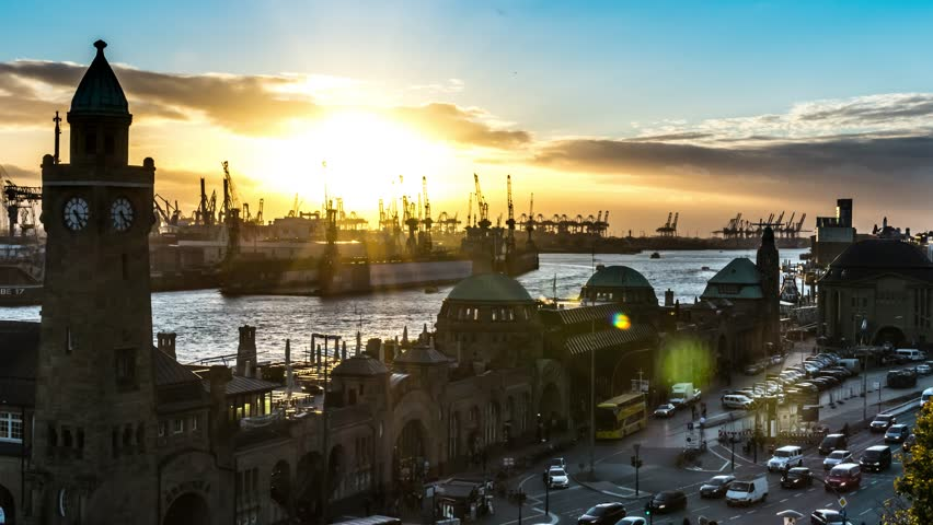 """HAMBURG, GERMANY - October 30, 2017: View of Hamburg harbour in the afternoon shot from the observation platform above the train station """"Landungsbruecken"""" in 4K UHD footage (timelapse)"""