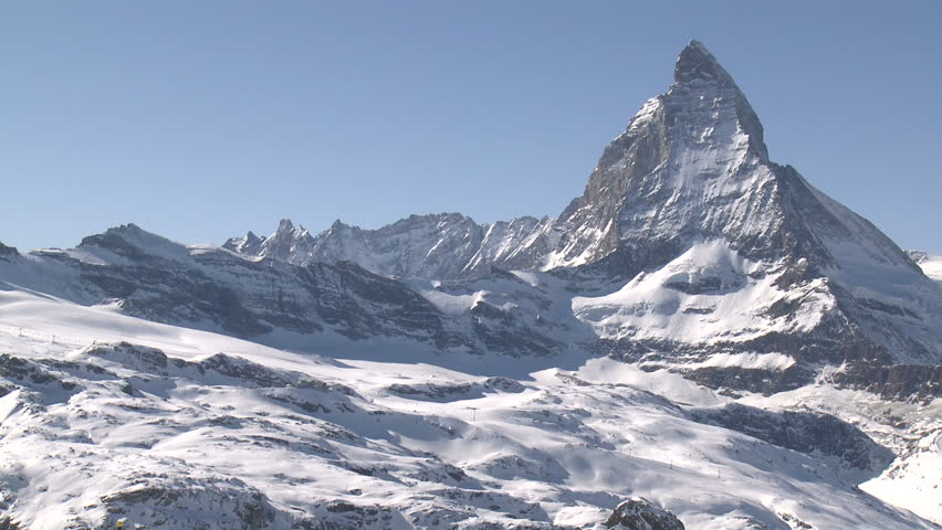 Stunning View Of Matterhorn In Swiss Alps. Shot from the Zermatt side on a beautifully clear day in full HD 1920x1080 30p on Sony EX1   Shutterstock HD Video #3236977