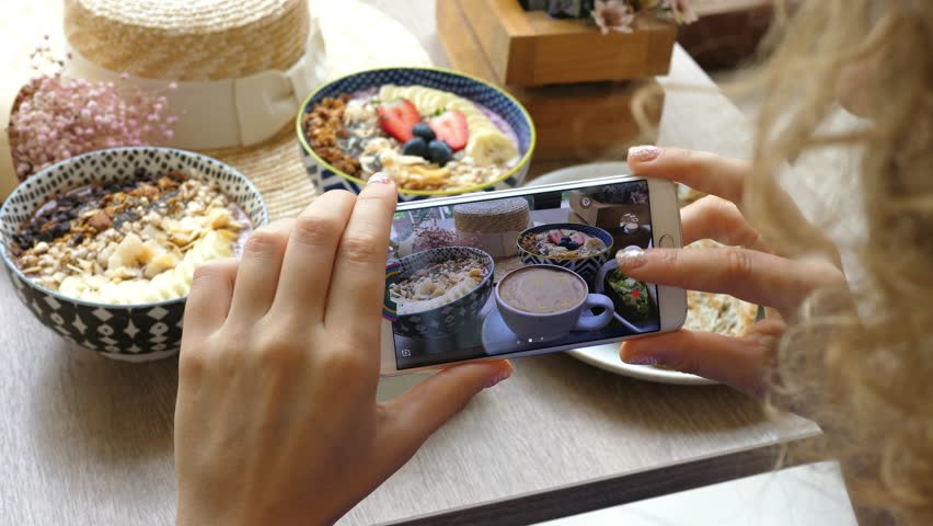 Female Blogger Taking Pictures Of Hipster Breakfast With Phone. Closeup. 4K.  #32371912