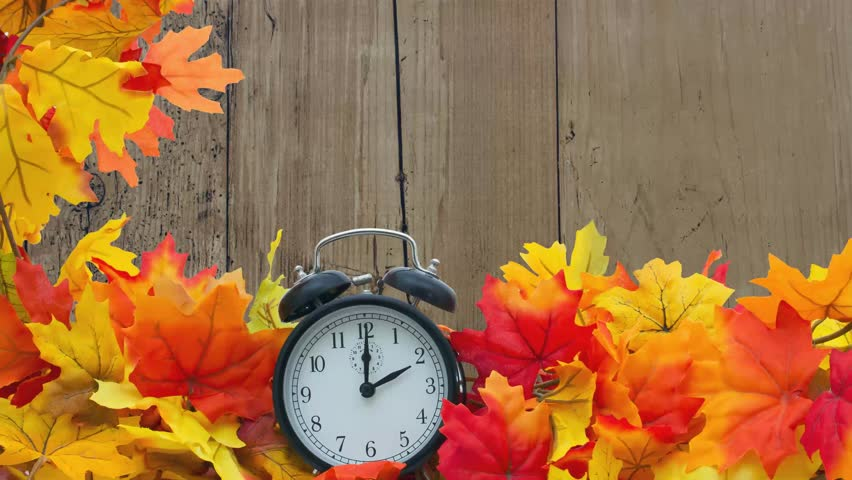 Fall Time Change, Autumn Leaves and Alarm Clock with grunge wood with text Fall Back 1 Hour Royalty-Free Stock Footage #32381053